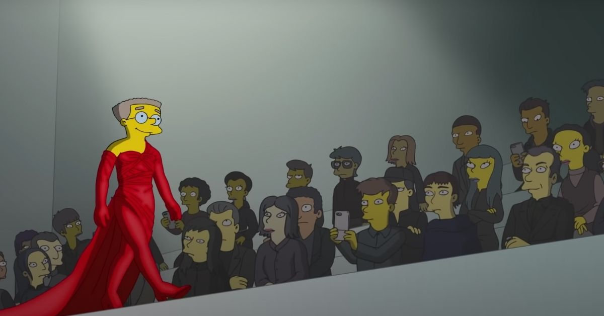 personnage-simpsons-robe-rouge-scene-defile-balenciaga